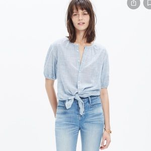 Madewell blue striped peasant top
